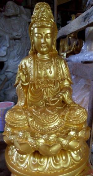 Tượng Phật Ba Bằng Đồng, Dát Vàng 24K