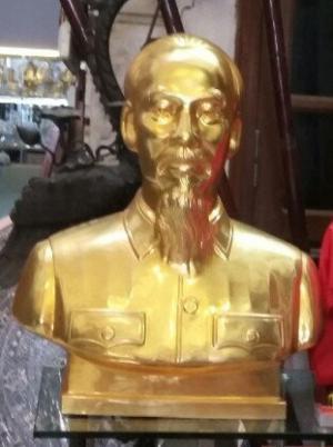 Tượng Đồng Bác Hồ Bán Thân .Dát Vàng 24K