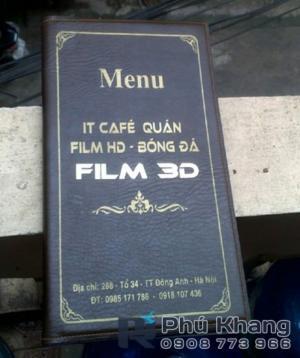 Làm bìa menu da giá rẻ, bìa menu da nhà hàng, bìa menu quán ăn, menu cafe