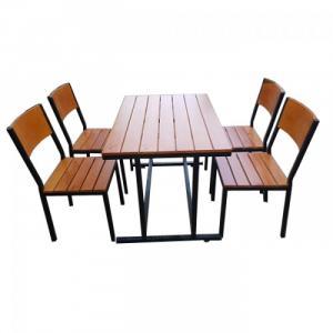 Cần thanh lý gấp bàn ghế gỗ nhựa đúc chân ống nhôm và chân ống inox 27, bàn ghế nhựa giả