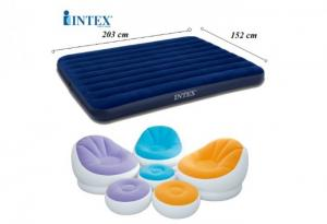 Bộ đệm hơi INTEX 68759 + ghế hơi INTEX 68572 kèm bơm điện