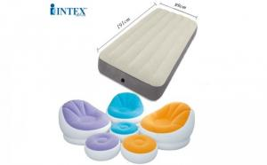 Bộ combo ghế hơi INTEX 68572+ đệm INTEX 64703