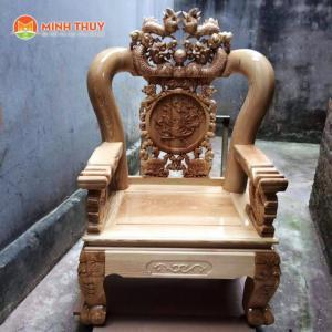 Bàn ghế phòng khách - quốc rồng tay 12 gỗ Sồi Nga tại xưởng (không qua trung gian)