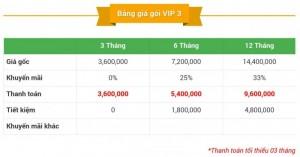 Bảng Giá Tài Khoản Thành Viên VIP 3