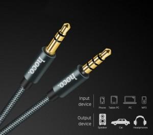 Cáp 3.5mm AUX Hoco UPA03 một sợi cáp chuẩn 3.5mm dùng để kết nối các thiết bị âm thanh như loa, tai nghe, sử dụng để kết nối giữa nguồn phát và thiết bị phát hoặc giữa các thiết bị phát với nhau.