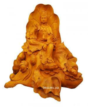 Tượng quan âm ngồi lá sen gỗ mít - tượng gỗ mỹ nghệ đẹp Đà Nẵng