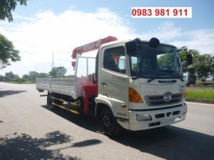 Xe tải cẩu Hino-tải 4,6t-thùng 6,1m gắn cẩu Unic 3t4k