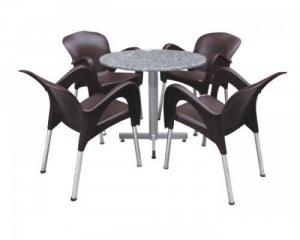 Bàn ghế chân ống inox 27, bàn ghế nhựa giả...