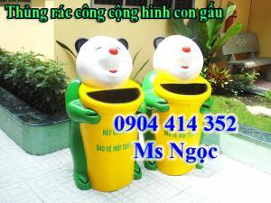 Thùng rác hình con gấu  Kích thước : 500 x1100mm  - Màu sắc : tùy chọn - Chất liệu : Composite  - Có giỏ PVC đựng rác bên trong  - Xuất sứ : hàng Việt Nam mới 100%.