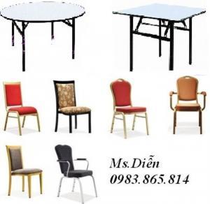 Bàn ghế nhà hàng, bàn tròn mặt kính xoay, bàn ghế tiệc, đồ dùng nhà hàng khách sạn