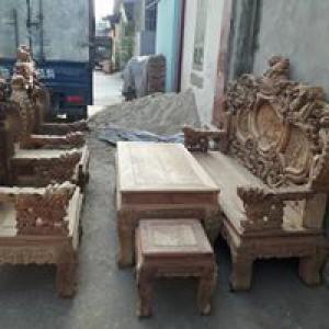 Bộ Bàn Ghế Nghê Đỉnh Tay Khuỳnh vách liền gỗ hương