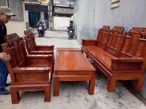 Bộ Bàn Ghế Kiểu Âu Á Hộp Như Ý Voi, Tay Đặc gỗ hương vân bộ 2m2 và 2m4
