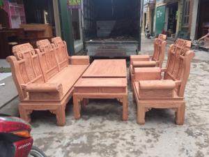 Bộ bàn ghế phòng khách âu á hộp kiểu như ý voi gỗ hương đá