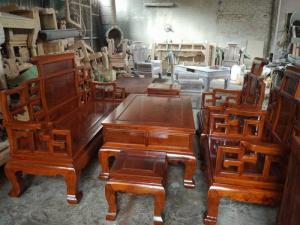 Bộ bàn ghế phòng khách kiểu sơn thủy gỗ hương đá