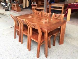 Bộ bàn ghế phòng ăn chữ nhật - gỗ xoan đào