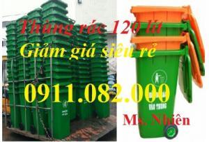 Phân phối thùng rác 120 lít, 240 lít giá rẻ- 2 bánh xe nắp kín