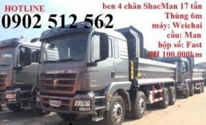 Xe ben 4 chân Shacman thùng dài 6m tải 17 tấn RiTa Võ