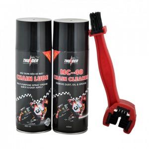 Combo Chai xịt bôi trơn chain lube và Chai xịt vệ sinh MC-40 chain Cleaner 400ml + bàn chải - MSN388233