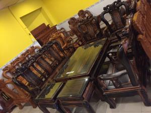 Bộ bàn ghế gỗ Mun cột 10, 8 món chạm đào-BBG320
