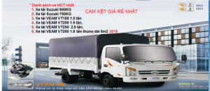 Xe tải Veam VT150 1,5 tấn thùng kín