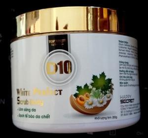 White Perfect Scrub Body D10 – Gel làm sạch tế bào da chết, da trắng sáng, thoáng sạch, đảm bảo các bước dưỡng da sau đó đạt hiệu quả tốt nhất.