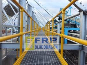 Lan can tay vin handrail frp chống sét rỉ, tấm sàn chống trượt kháng hóa chất trong nhà máy, nắp hố ga frp