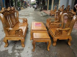 Bộ bàn ghế giả cổ hoa lá tây gỗ lim