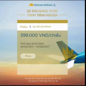 Giá vé ưu đãi tuyến Pleiku - Hồ Chí Minh hàng tuần