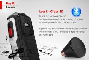 Masstel play 10 được cho là dòng điện thoại sở hữu loa khủng và tốt nhất trong các dòng điện thoại masstel. Với loa K-Class 3D được tích hợp giúp Play 10 mang lại những âm thanh hoàn hảo, đem lại những giây phút thứ giãn đầy thú vị, nghe nhạc, xem phim,...