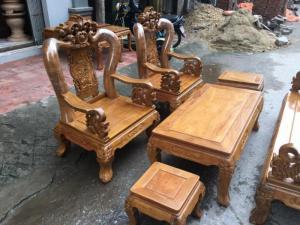 Bộ bàn ghế hoa lá tây tay 12 gỗ lim