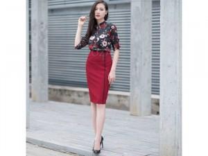 Set Váy Bút Chì + Áo Voan In Hoa Hồng Tay Lỡ