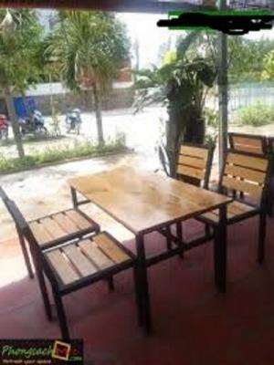 Bàn ghế sắt gỗ cafe giá rẻ. Xưởng chuyên sản xuất bàn ghế gỗ sắt