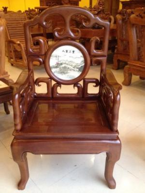 Bộ bàn ghế triện móc mặt đá - BBG41