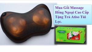 Gối Massage Hồng Ngoại 6 bi nóng Kasumi KGM-04 , giúp giảm đau mỏi.+ Tặng Kèm Trà Atiso MSN383077