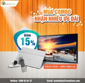 Giảm giá 15% cho Combo thiết bị hội nghị truyền hình Cisco SX20 và màn hình LG