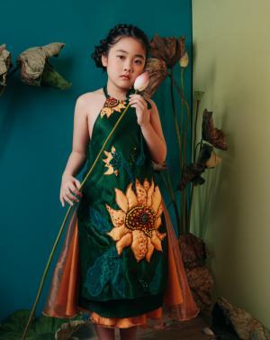 Áo dài yếm cho bé gái YBG1702