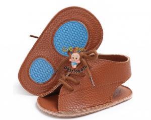 Giày Bé Gái Tập Đi Sandal Cột Dây Nâu Đậm Cực Chất