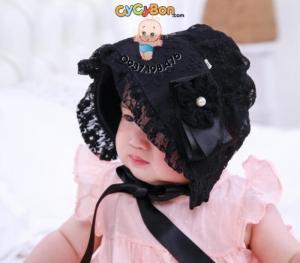 Nón Cho Bé Tiểu Thư Ren Nơ 1 Bên Đính Ngọc Trai Màu Đen