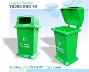 Thùng rác 95 lít để ngoài trời, bán thùng rác công nghiệp 120l, xe gom rác 1000l