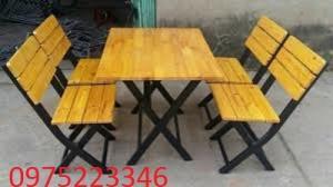 Bàn ghế gỗ chân sắt giá tại xưởng..