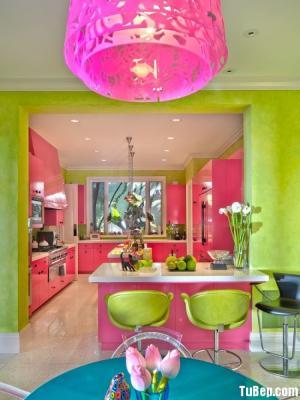 Tủ bếp gỗ Acrylic màu hồng ngọt ngào thiết kế sang chảnh – TBT16