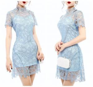 Đầm ren body hoa dây nơ ruy băng sau lưng