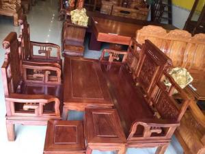 Bộ bàn ghế gỗ hương cuốn thư phòng khách nhỏ -BBG121