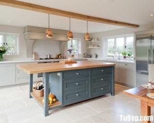 Tủ bếp gỗ Sồi sơn men trắng bán  cổ điển