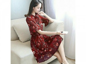 Đầm Xòe Hoa Tùng Dập Li