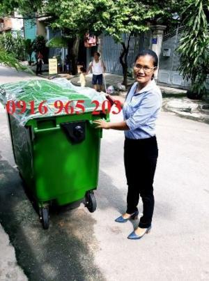 Xe thu gom rác 660 lít 4 bánh nhựa compo, Thùng rác 660 lít 4 bánh xe xanh lá