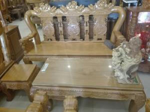 Bộ bàn ghế chạm lân 2 mặt