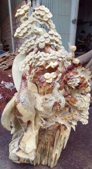 Tượng chim trĩ hoa phù dung