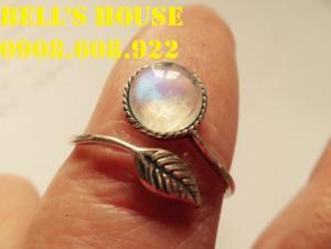 Nhẫn đá mặt trăng, Nhẫn bạc nữ 925 moonstone, nhẫn bạc bell house jewelry, liên hệ