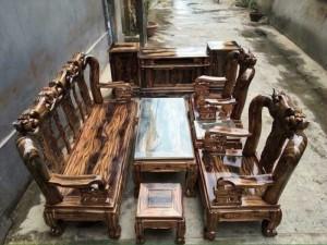 Bộ nội thất phòng khách quốc đào tay 12  gỗ tràm